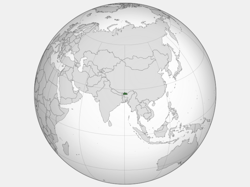 Kingdom of Bhutan locator map