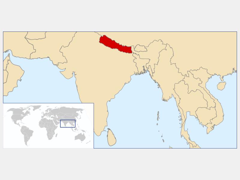 Federal Democratic Republic of Nepal locator map