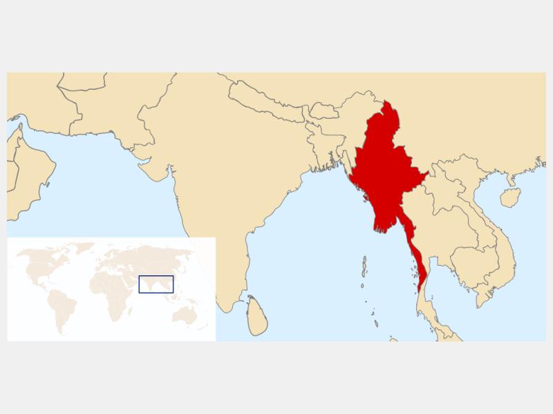 Union of Burma locator map