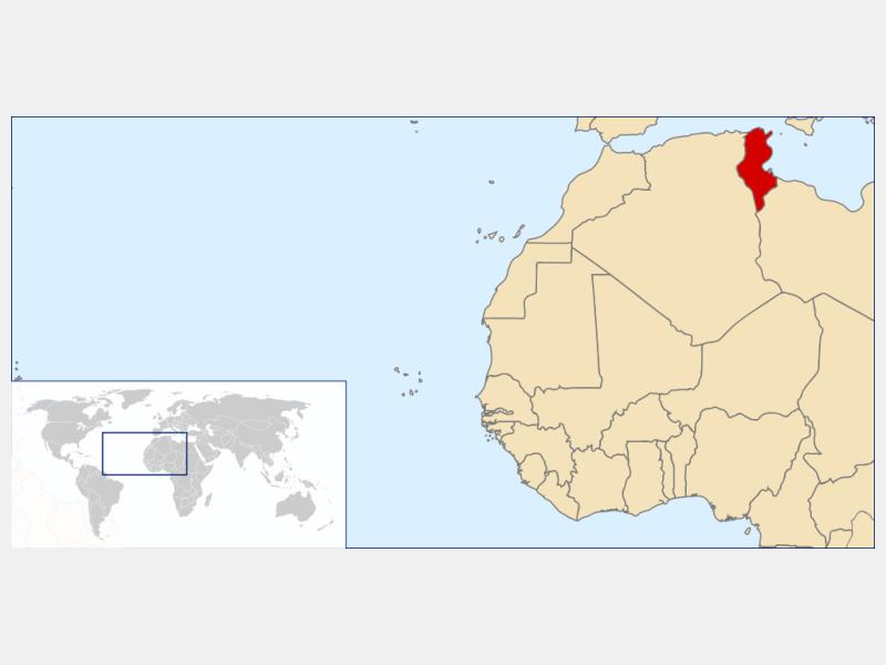 Republic of Tunisia locator map