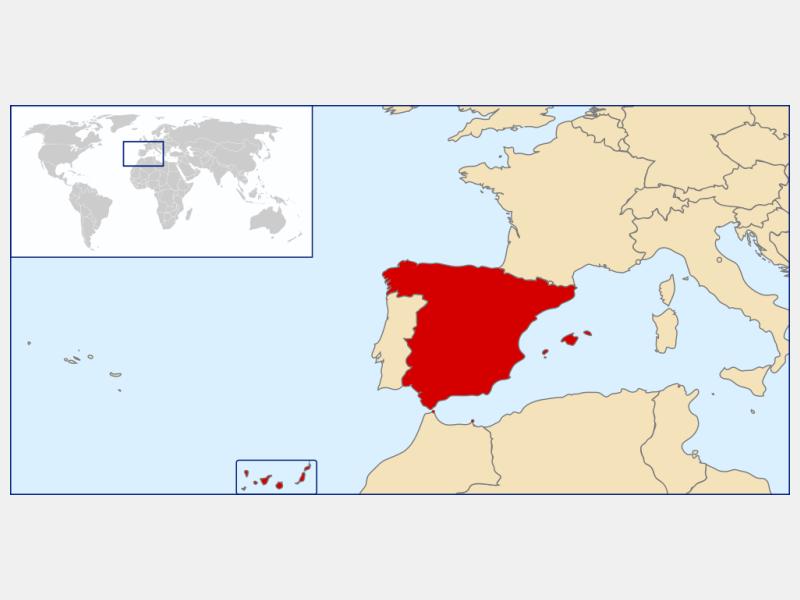 Kingdom of Spain locator map