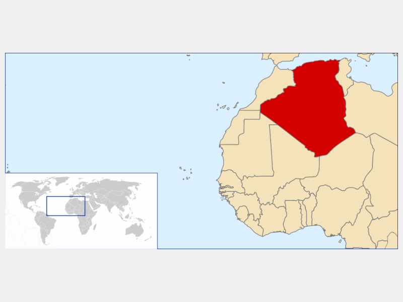 People's Democratic Republic of Algeria locator map