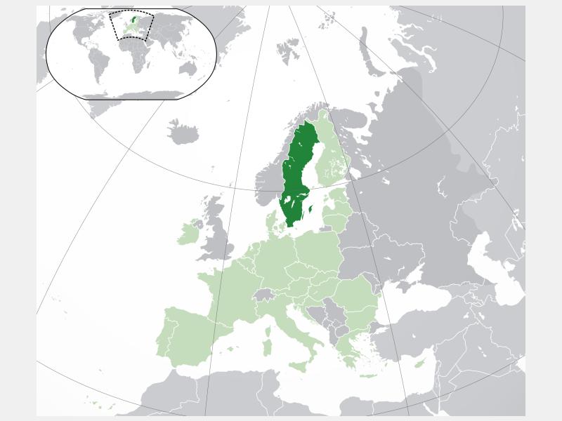 Kingdom of Sweden locator map