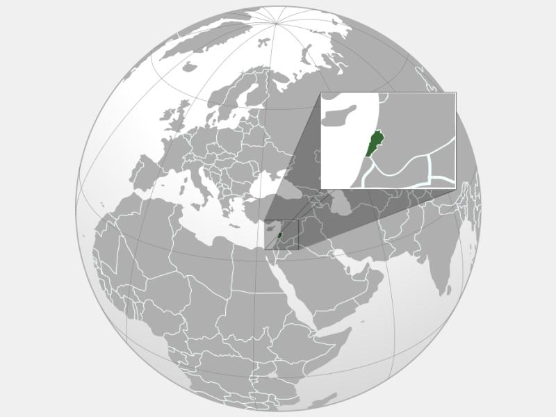 Lebanon locator map