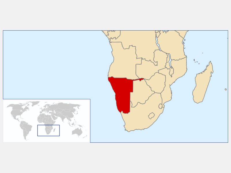 Republic of Namibia locator map