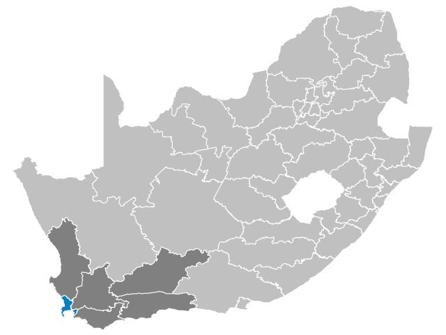 Cape Town locator map