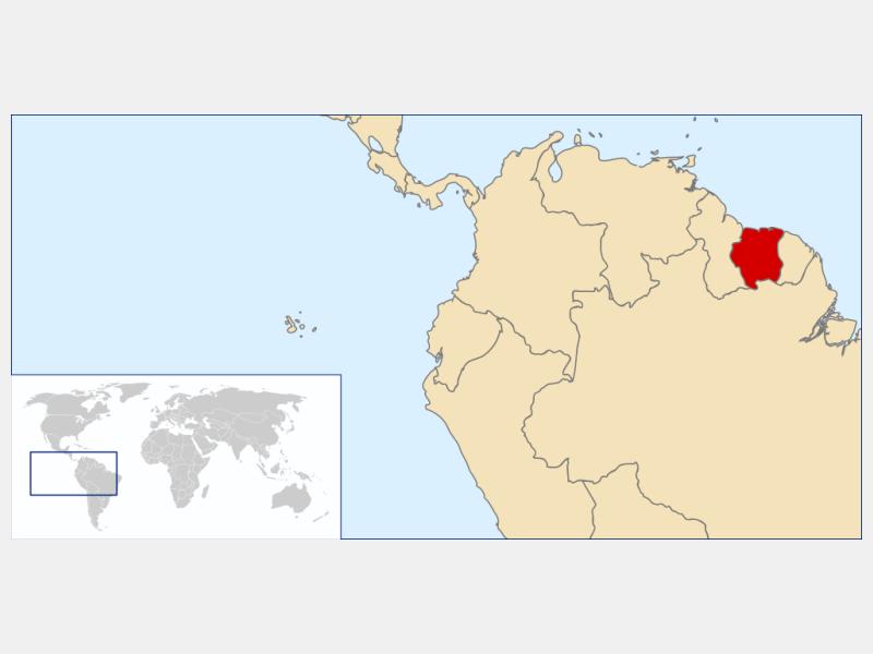 Republic of Suriname locator map