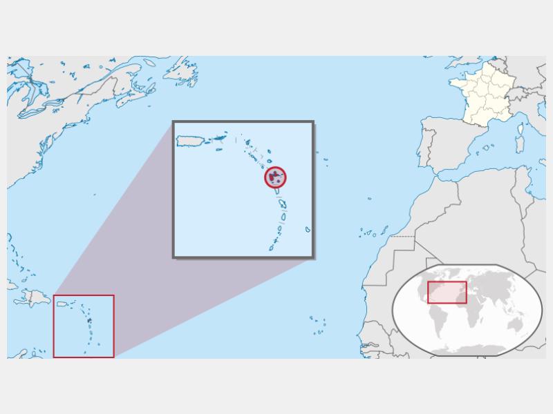 Guadeloupe locator map