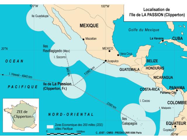 Clipperton Island locator map