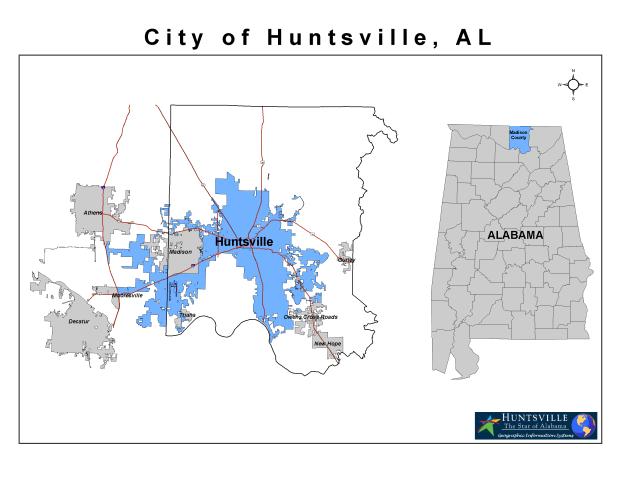 Huntsville location map