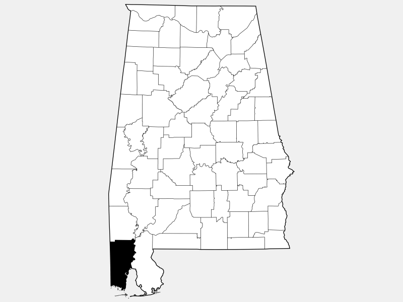 Mobile County locator map