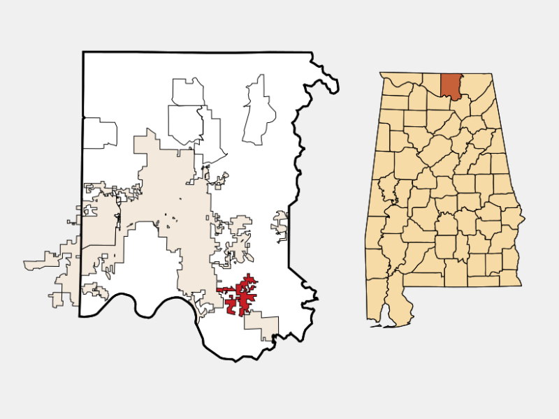 Owens Cross Roads locator map