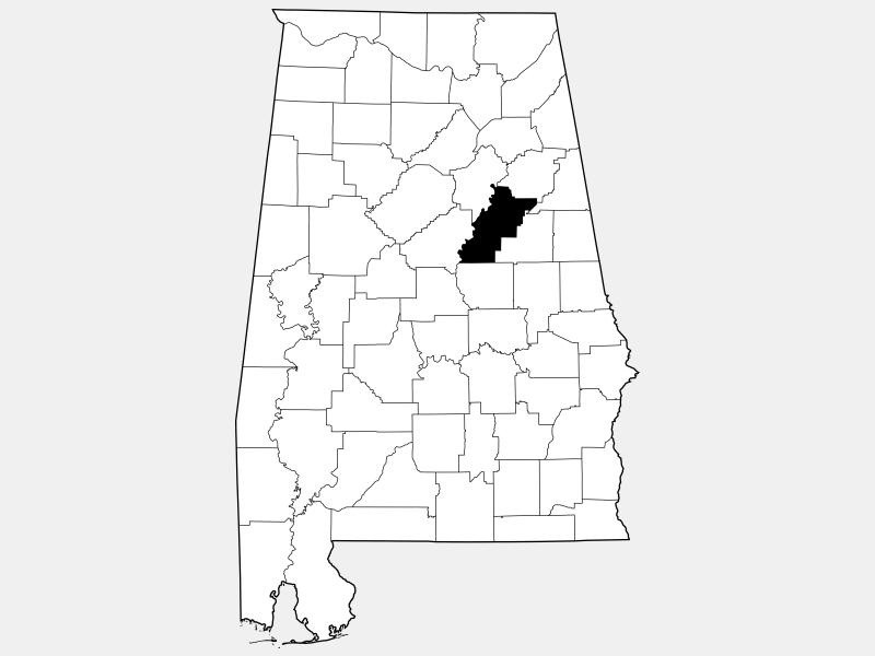 Talladega County locator map