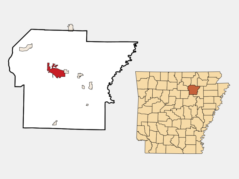 Batesville locator map