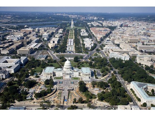 Aerial of the U.S. Capitol under restoration 04879v image