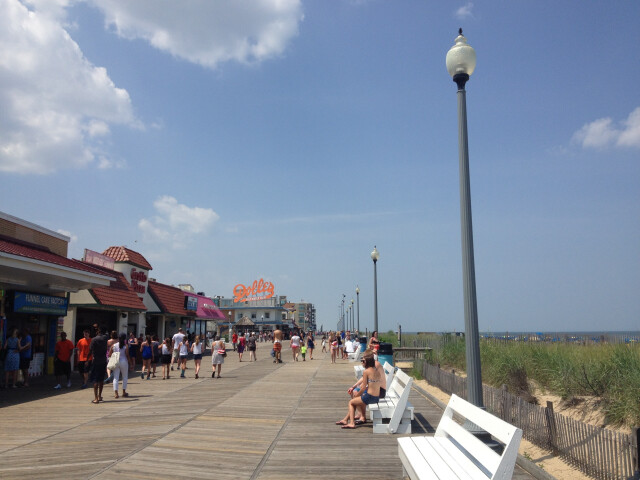 Rehoboth Beach boardwalk looking north toward Rehoboth Avenue image