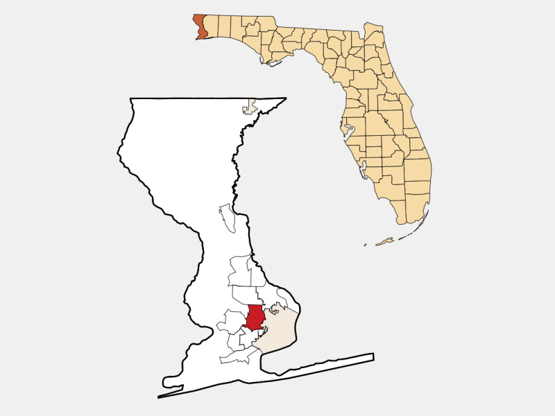 Brent, FL locator map