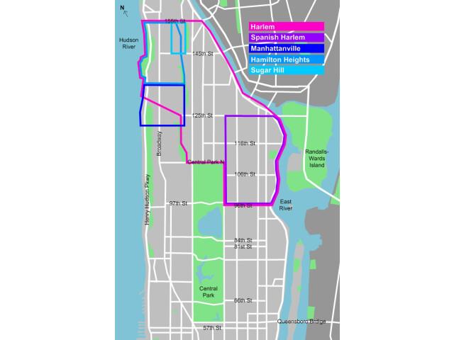 Harlem locator map