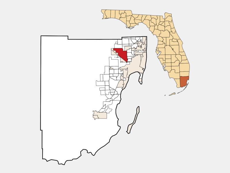 Hialeah, FL locator map