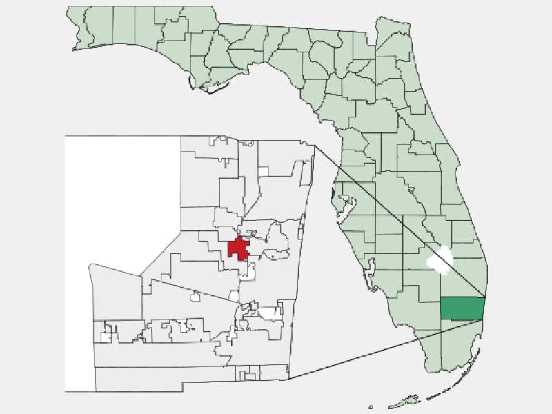 Lauderdale Lakes, FL locator map