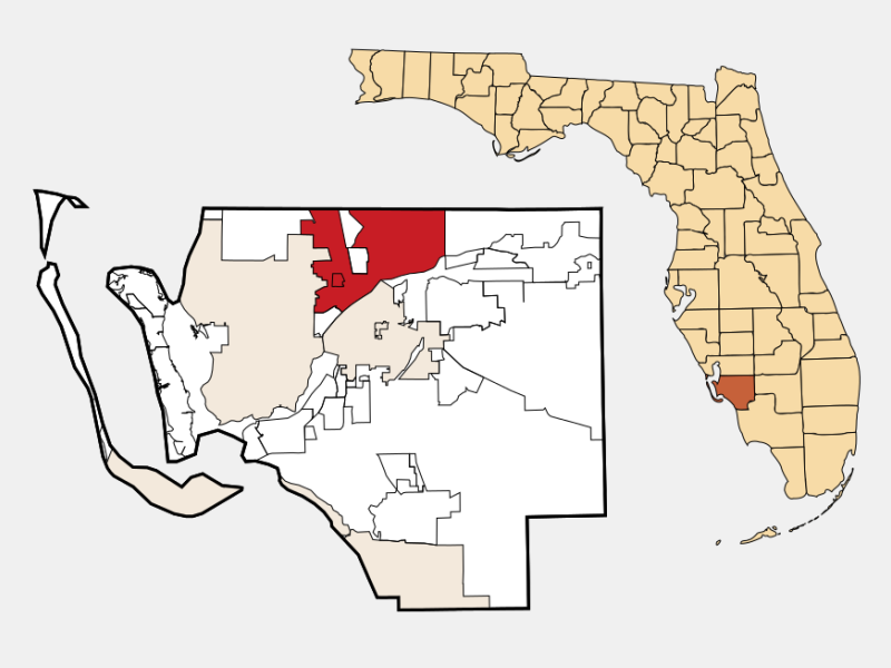 North Fort Myers locator map