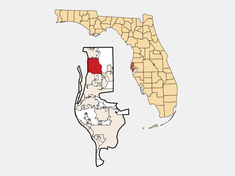 Palm Harbor locator map
