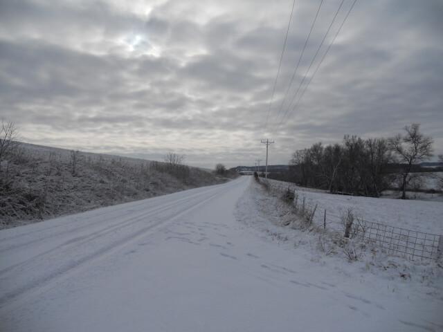 Snow on road  Clayton County  Iowa image