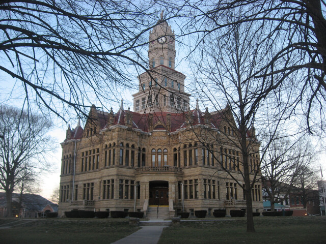 Edgar County Courthouse from southwest at dusk image