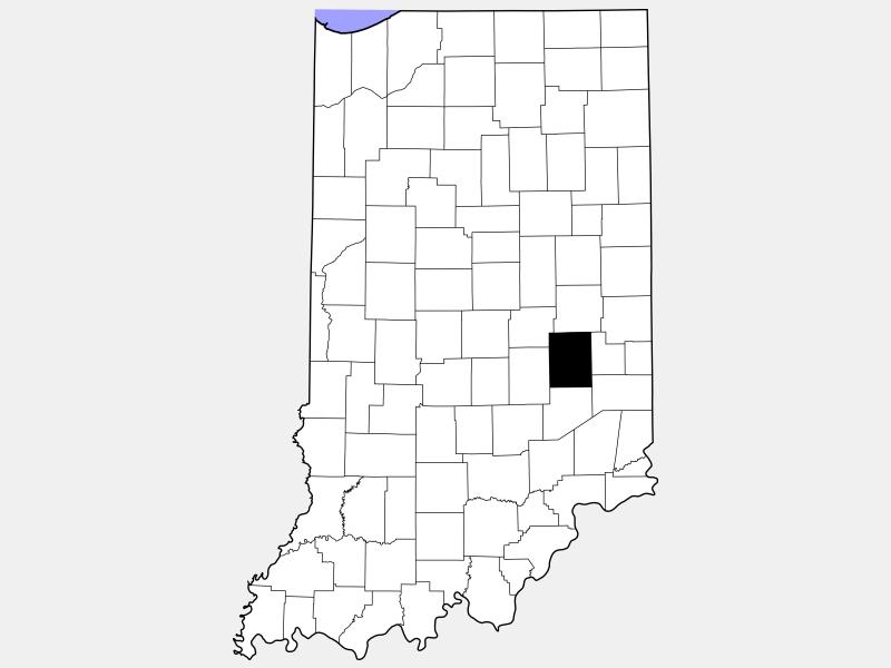 Rush County locator map