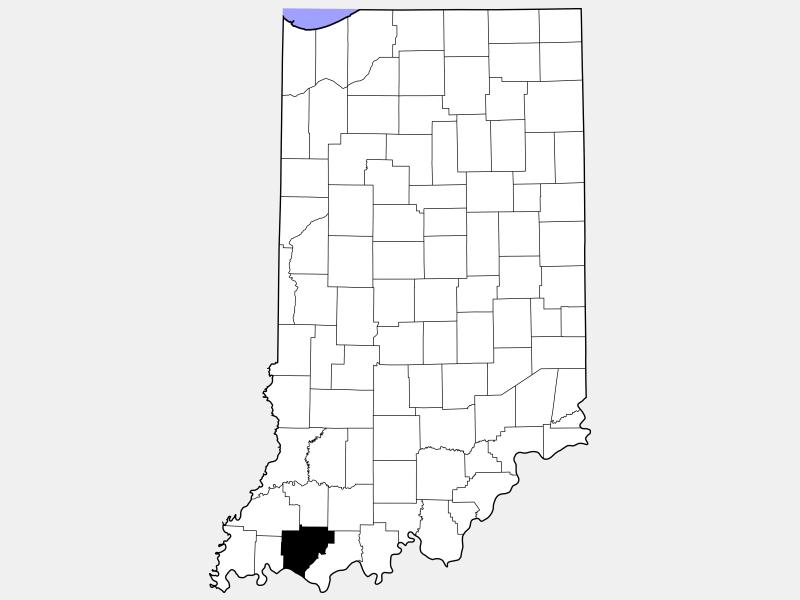 Warrick County locator map