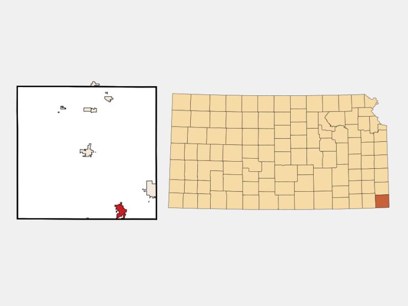 Baxter Springs locator map
