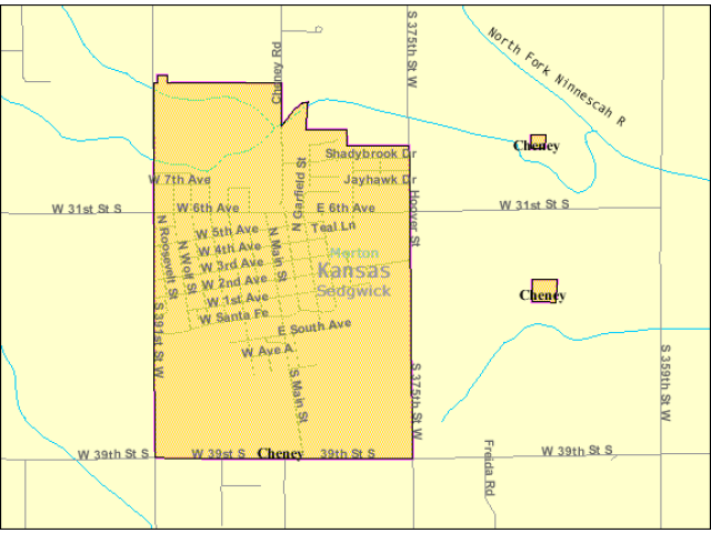 Detailed map of Cheney  Kansas taxon range map image