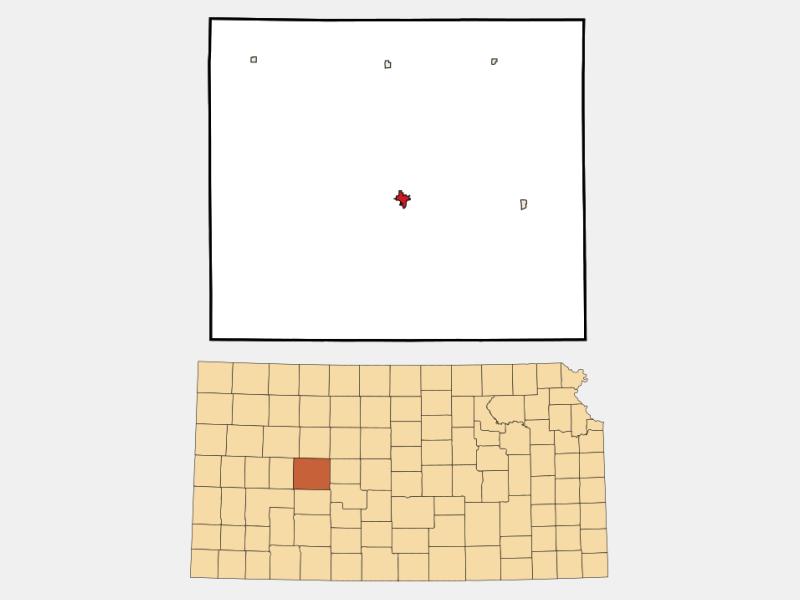 Ness City locator map