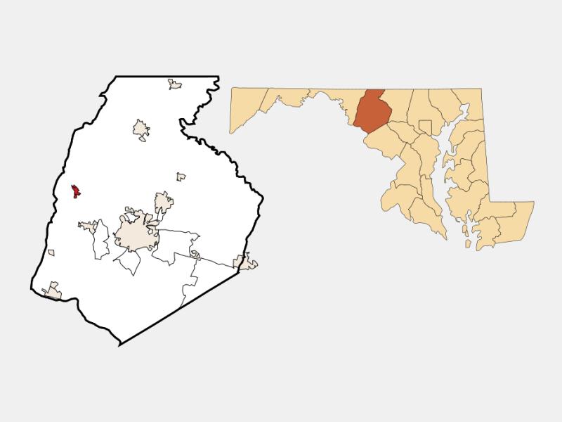 Myersville locator map
