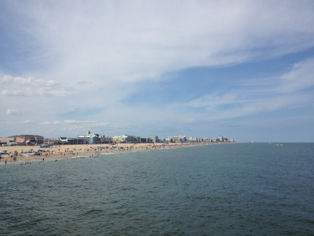 Ocean City MD beach looking north from pier. image