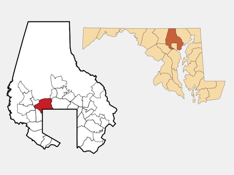 Pikesville locator map