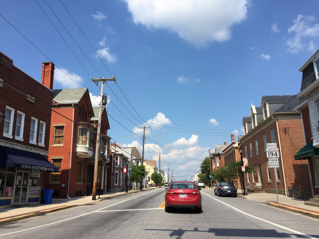 2016-08-20 15 28 12 View north along Maryland State Route 194 'York Street' at Maryland State Route 140 'Baltimore Street' in Taneytown  Carroll County  Maryland image