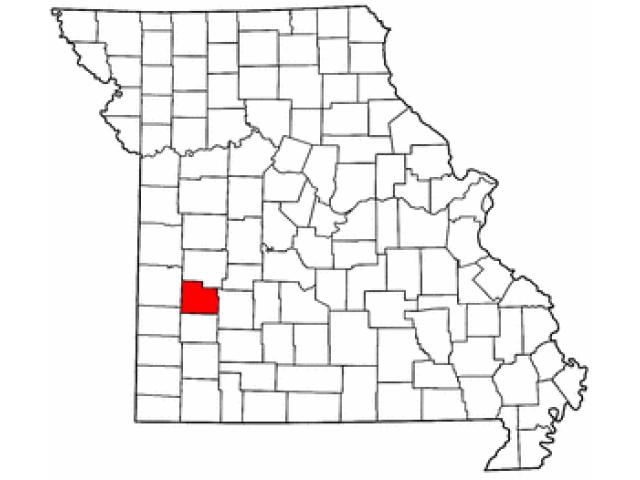 Map of Missouri highlighting Cedar County image