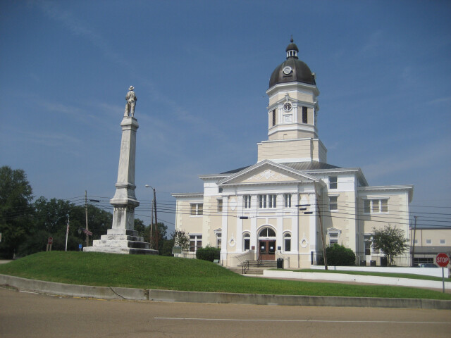 Claiborne County Courthouse and Confederate monument  Port Gibson  Mississippi 2008 image