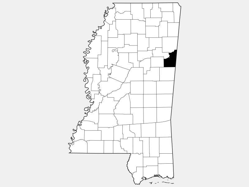 Lowndes County locator map
