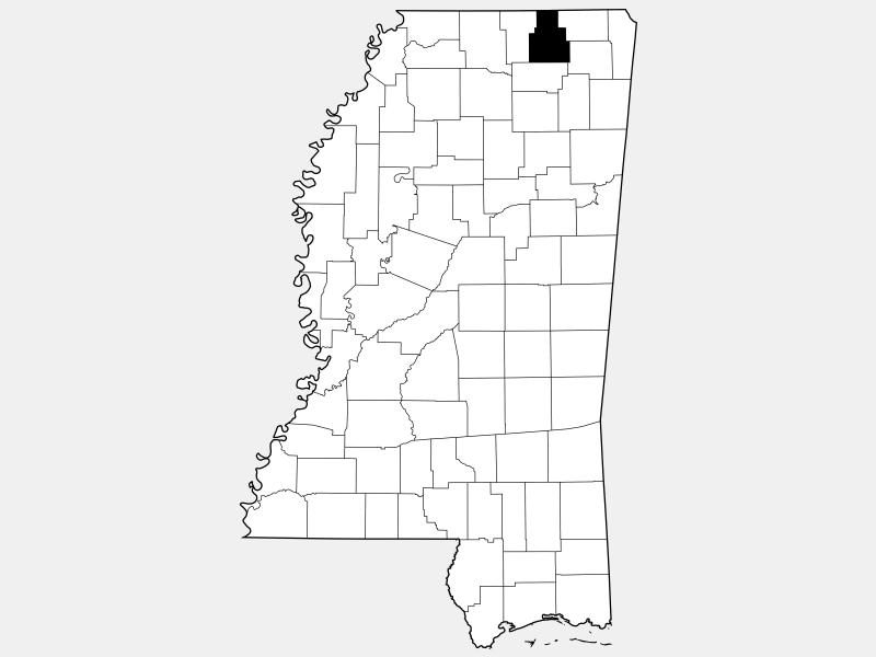 Tippah County locator map