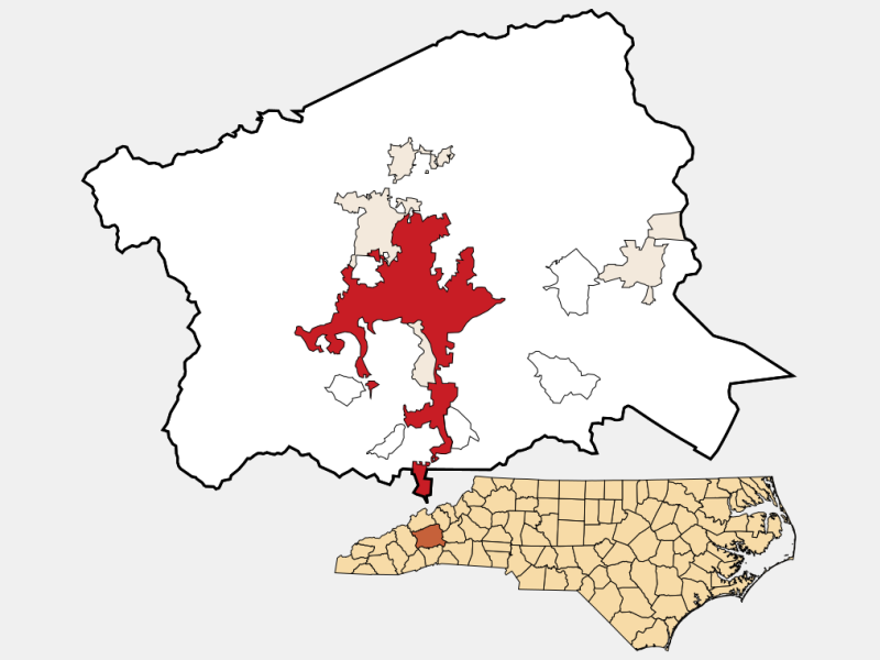 Asheville locator map