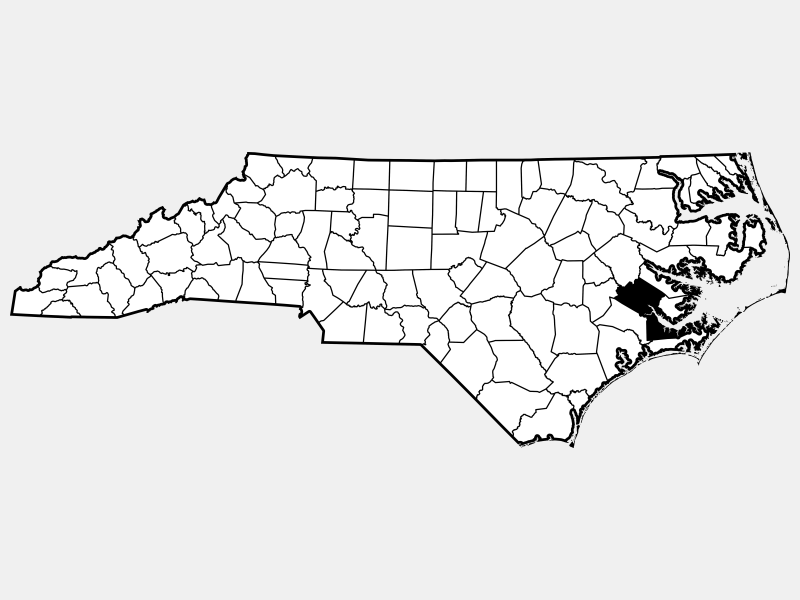Craven County locator map