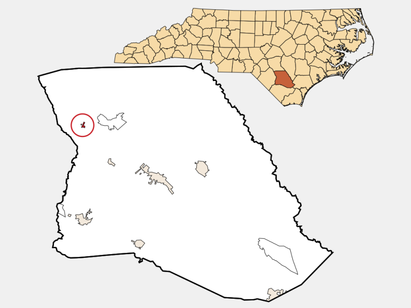 Tar Heel locator map