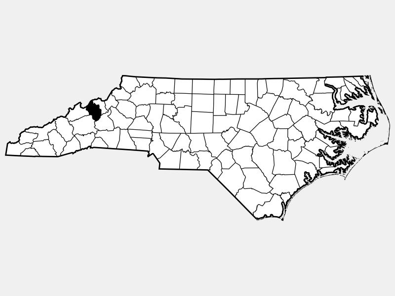Yancey County locator map