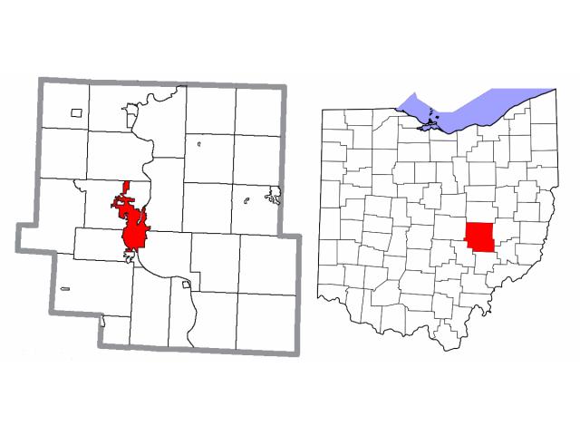 Zanesville locator map