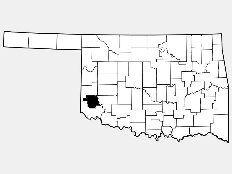 Greer County locator map