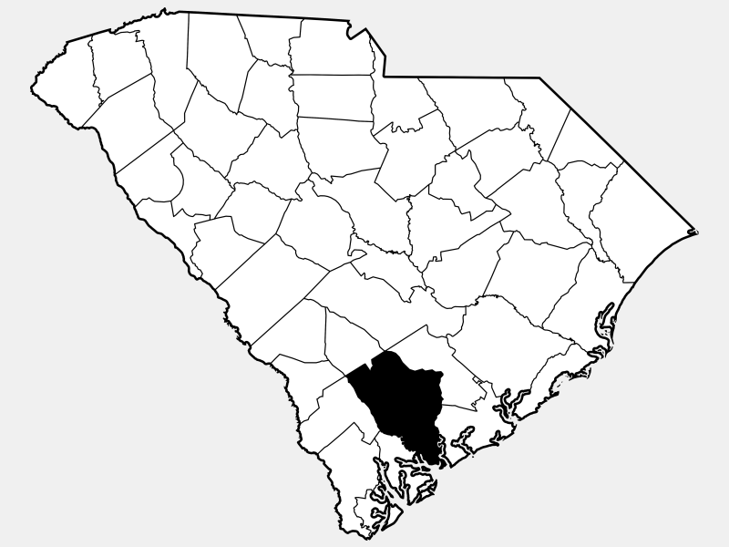Colleton County locator map
