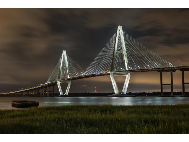 Ravenel Bridge at night from Mt Pleasant image