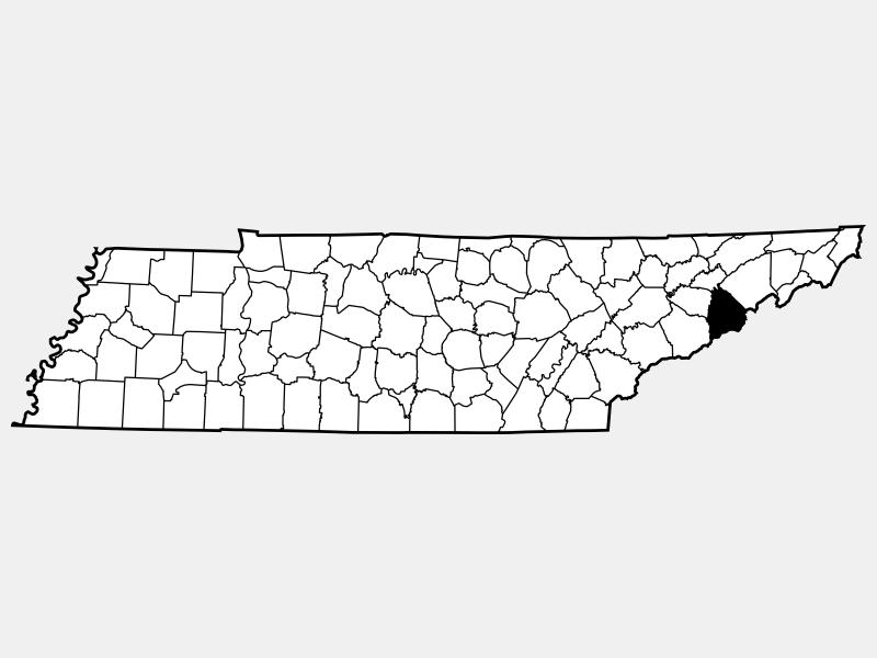 Cocke County locator map